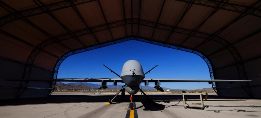 A U.S. Air Force MQ-9 Reaper drone sits in a hanger at Creech Air Force Base, May 19, 2016. (photo: Josh Smith/Reuters)