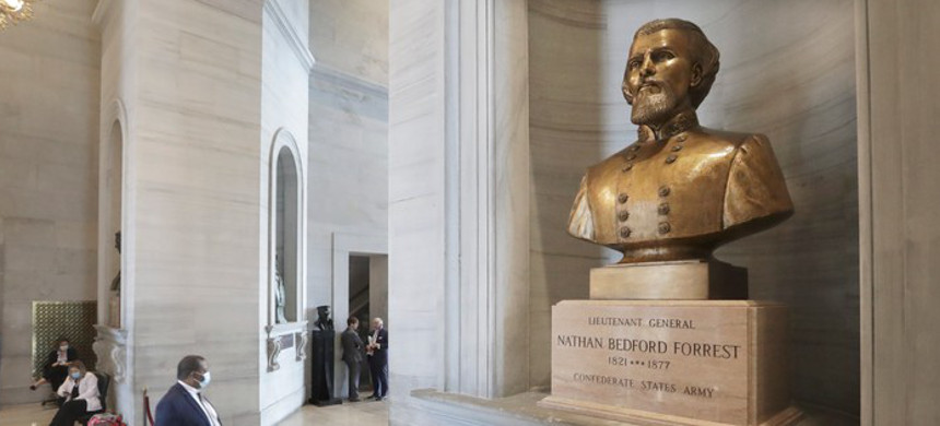 A bust of the Ku Klux Klan 'Grand Wizard' Nathan Bedford Forrest will stay in the Tennessee state Capitol. (photo: Getty)