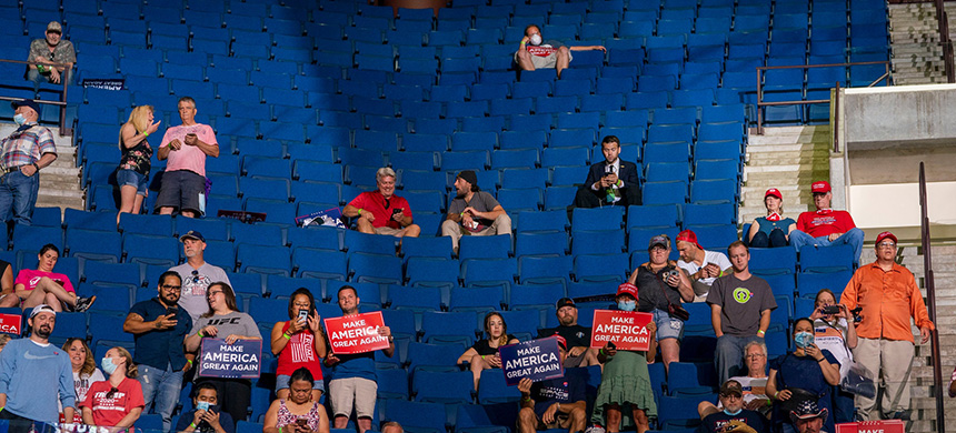 Many of the arena's 19,000 seats remained empty as Mr. Trump spoke. (photo: Doug Mills/NYT)