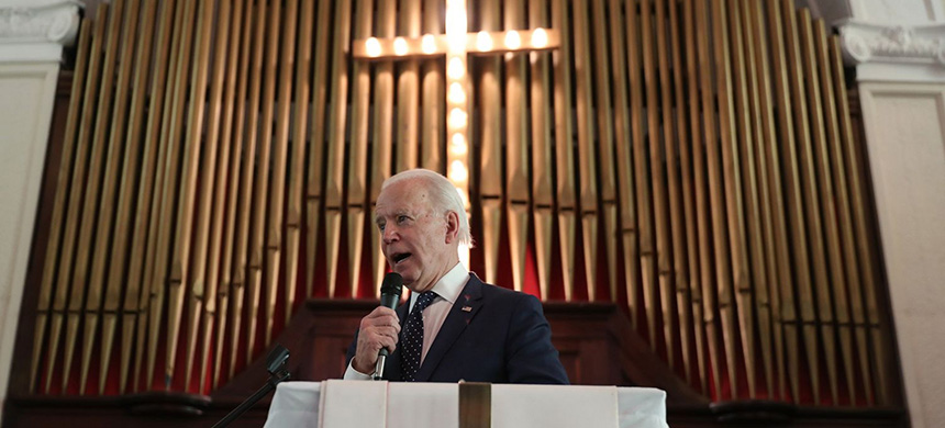 Joe Biden, a lifelong Catholic, has performed better in recent polling among white evangelicals and is widely perceived as more religious than President Donald Trump. (photo: Joe Raedle/Getty Images)