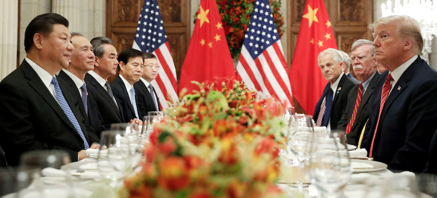 President Donald Trump with China's President Xi Jinping and members of their official delegations during their bilateral meeting at the G20 Summit in Buenos Aires, Argentina. (photo: Pablo Martinez Monsivais/AP)