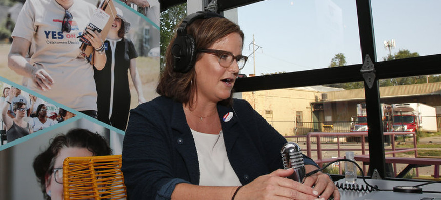 Amber England, who led the successful campaign for a ballot initiative to give 200,000 more Oklahomans health coverage, talked with supporters online this week. (photo: Sue Ogrocki/AP)