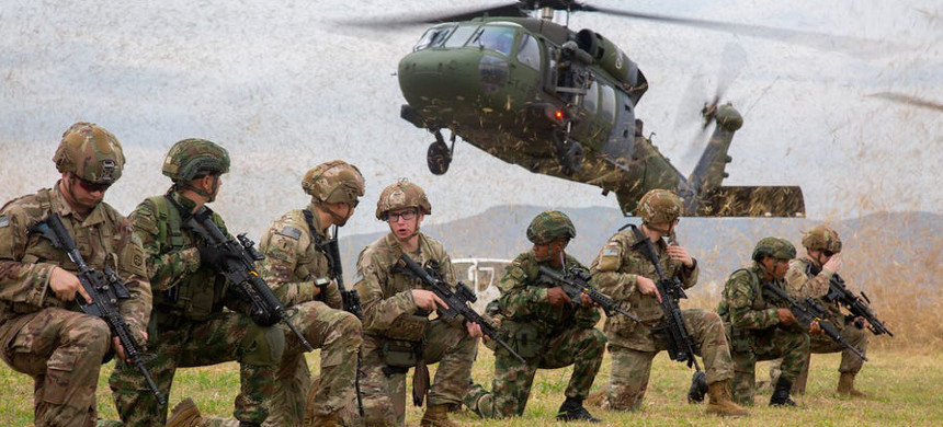 Members of the U.S. Army's 82nd Airborne Division and the Colombian National conduct exercise simulating the securing of an airfield at Tolemaida Air Base, in Nilo, Colombia, January 25, 2020. (photo: U.S. Army/Sgt. Andrea Salgado-Rivera)