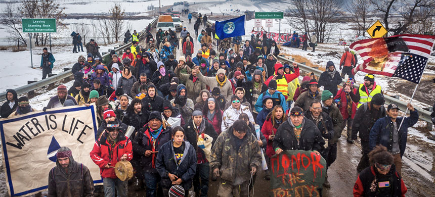 Defiant Dakota Access Pipeline water protectors faced-off with various law enforcement agencies on the day the camp was slated to be raided.  (photo: Michael Nigro/Pacific Press/LightRocket/Getty Images)