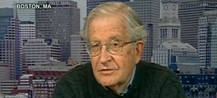 World-renowned political dissident and linguist Noam Chomsky discussing WikiLeaks release of State Department cables on Democracy Now!, 11/30/10. (video image: Democracy Now!)