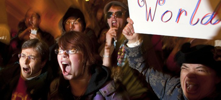 Protestors shout outside the office of Wisconsin Gov. Scott Walker, 02/22/11. (photo: Darren Hauck/Reuters)