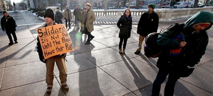 Casting long shadows, the labor protesters of Wisconsin persist, 02/28/11. (photo: Getty Images)