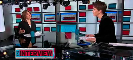 Host Rachel Maddow with guest Naomi Klein, 03/08/11. (image: MSNBC)