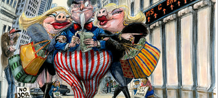 Why did the Federal Reserve fork over $220 million in bailout money to the wives of two Morgan Stanley bigwigs? (art: Victor Juhasz/Rolling Stone)