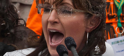 Sarah Palin speaks at a Tax Day Tea Party rally in Madison, Wisconsin, 04/16/11. (photo: Morry Gash/AP)