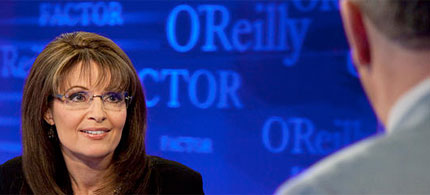 Sarah Palin appears on Fox News' The O'Reilly Factor. (image: Fox)