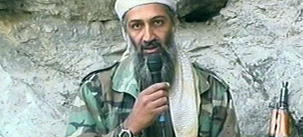 Osama bin Laden is seen at an undisclosed location in this television image, 10/07/01. (photo: Al Jazeera/AP)