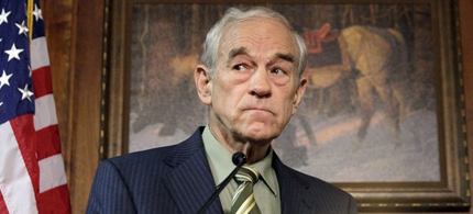 Texas Congressman Ron Paul speaks during his announcement of an exploratory committee in Des Moines, Iowa, 04/26/11. (photo: Reuters)