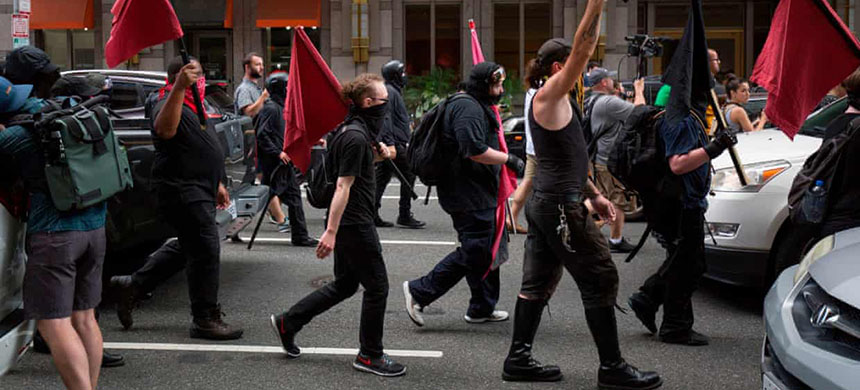 Members of an anti-fascist or Antifa march in Washington DC in 2019. (photo: Alastair Pike/AFP/Getty Images)