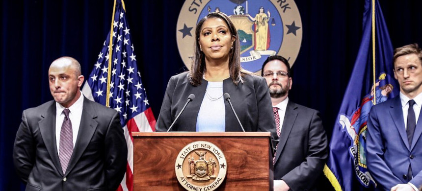 New York State Attorney General Letitia James speaks during a news conference at her office in New York, Tuesday, Nov. 19, 2019. (photo: Richard Drew/AP)
