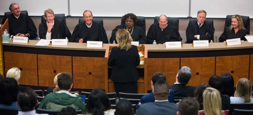 Deputy Solicitor General Michelle Ghetti rebuttals in front of the Louisiana Supreme Court Justices at Loyola University New Orleans College of Law in New Orleans. (photo: Sophia Germer)