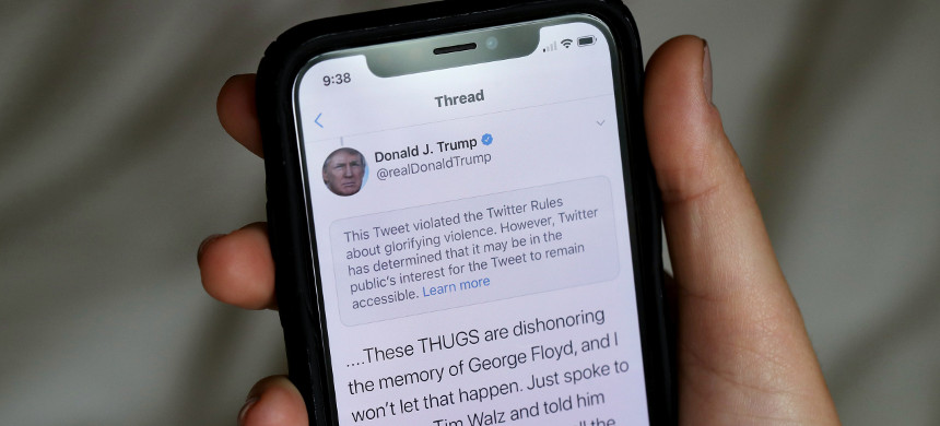 Donald Trump's tweet. (photo: Justin Sullivan/Getty)