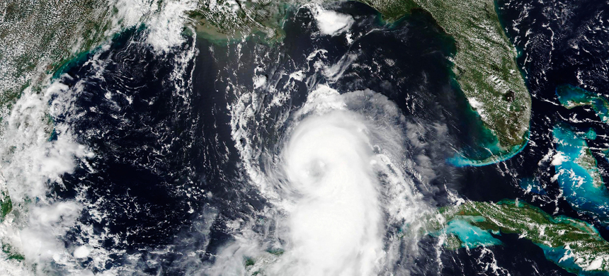 This Aug.25, 2020, satellite image released by NASA shows Hurricane Laura churning in the Gulf of Mexico. (photo: NASA)