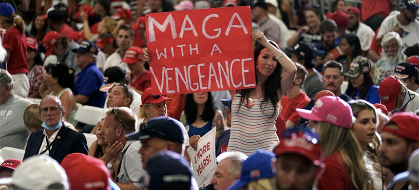 Supporters wait for President Donald Trump to speak at a rally at Xtreme Manufacturing, Sept. 13, 2020, in Henderson, Nevada. (photo: Andrew Harnik/AP)