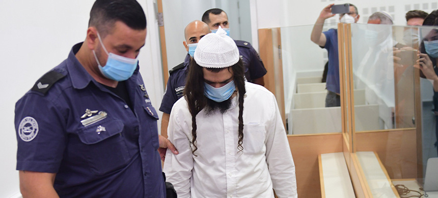 Amiram Ben-Uliel in the Lod District Court on May 18, 2020. (photo: Avshalom Sassoni/ AP)