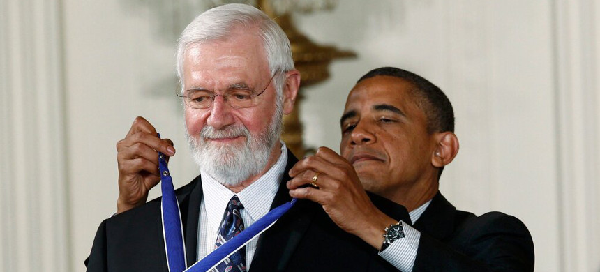 Dr. William Foege, a physician and epidemiologist, received the Medal of Freedom in 2012. He called on Dr. Robert R. Redfield, the C.D.C. director, to admit to the administration's pandemic failures. (photo: Kevin Lamarque/Reuters)