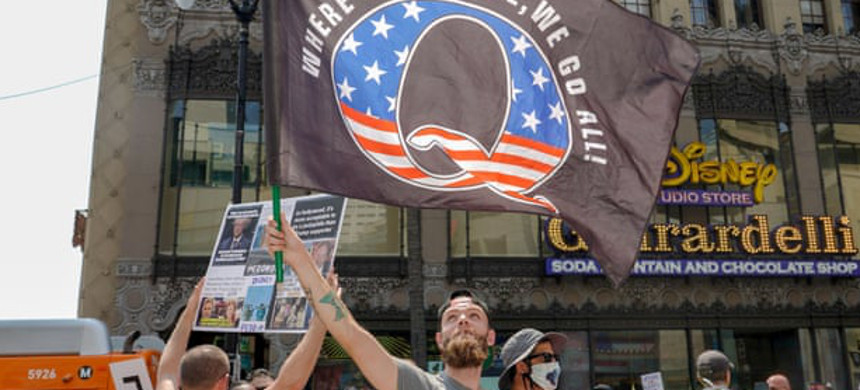 Members of conspiracy theorist group QAnon demonstrate in Los Angeles. (photo: Kyle Grillot/Getty)