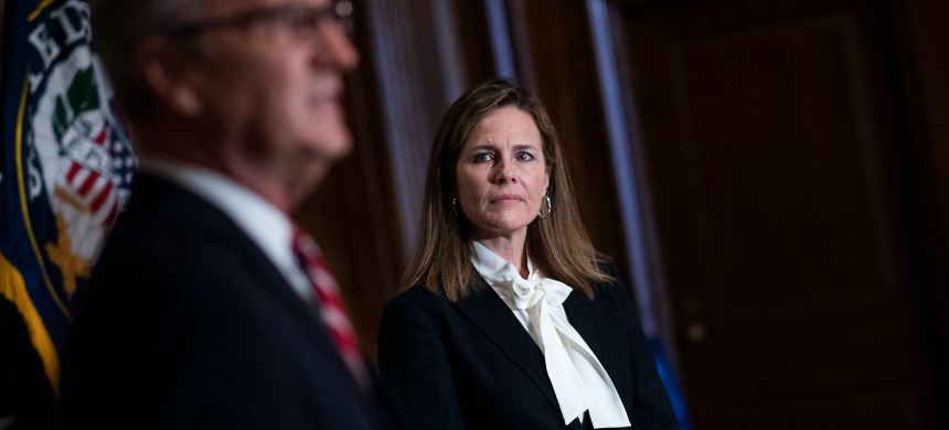 Supreme Court nominee Amy Coney Barrett and Sen. Kevin Cramer, R-ND. (photo: Tom Williams/Getty)