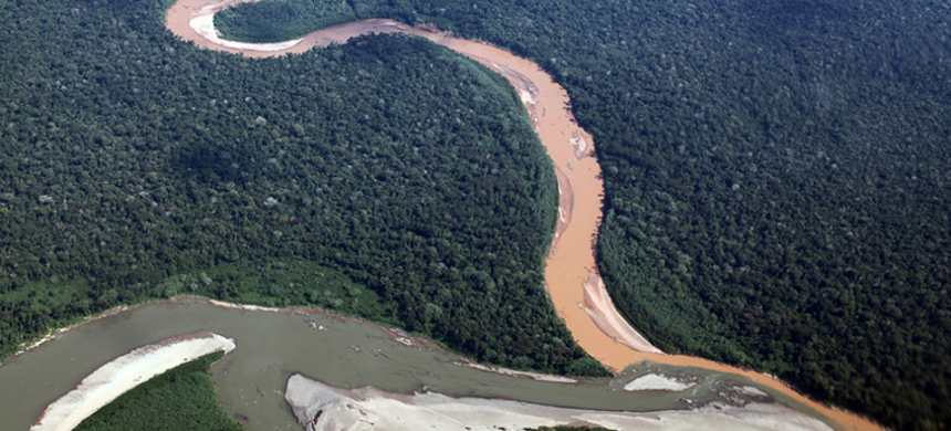River polluted with mine tailings in the Amazon rainforest. (photo: Rhett A. Butler/Mongabay)