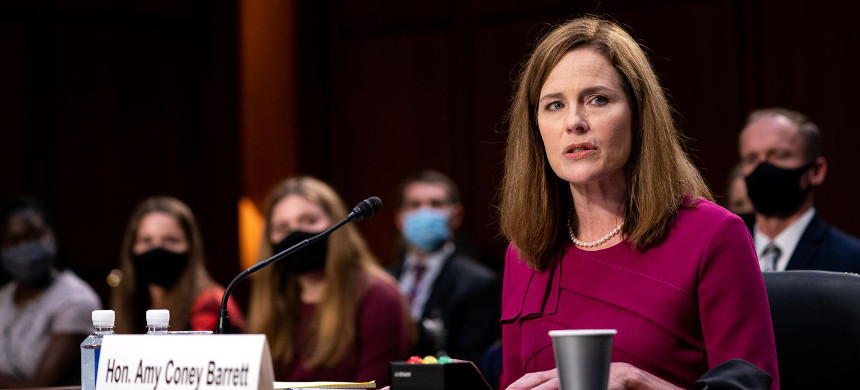 Supreme Court nominee Judge Amy Coney Barrett gives her opening statement during the Senate Judiciary Committee confirmation hearing in the Hart Senate Office Building on October 12, 2020, in Washington, DC. (photo: Erin Schaff/Getty)