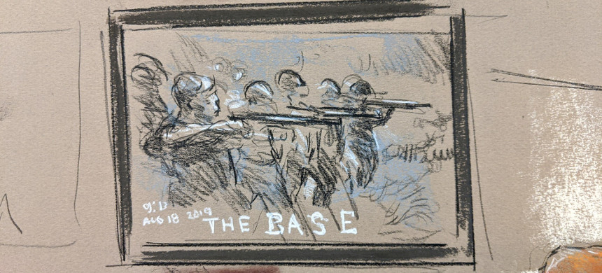 A sketch of a picture that is alleged to depict The Base was shown in U.S. District Court in Greenbelt, Md., on Jan. 16 during a hearing after three people suspected of being members of the white supremacist group were arrested on federal charges. (photo: Bill Hennessy)