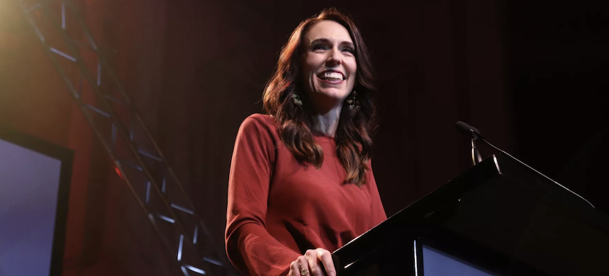 New Zealand Prime Minister Jacinda Ardern delivers her victory speech in Auckland, New Zealand, after being reelected in a historic landslide win on October 17. (photo: Lynn Grieveson/Getty Images)