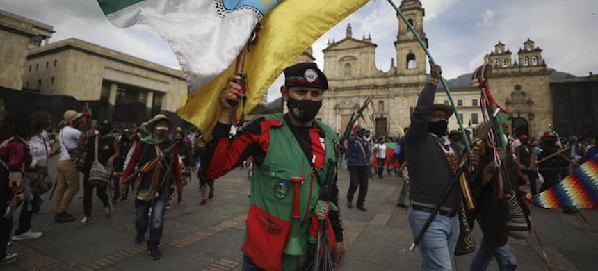 Indigenous protesters gathered in Bogota, Colombia. (photo: Fernando Vergara/AP)