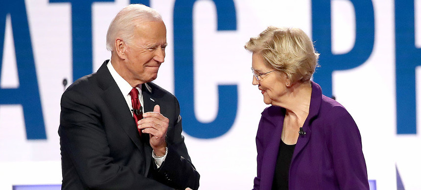While Elizabeth Warren has developed a relationship with Joe Biden as an economic adviser since ending her own presidential bid this past spring, there has been uncertainty about her ambitions. (photo: Win McNamee/Getty)