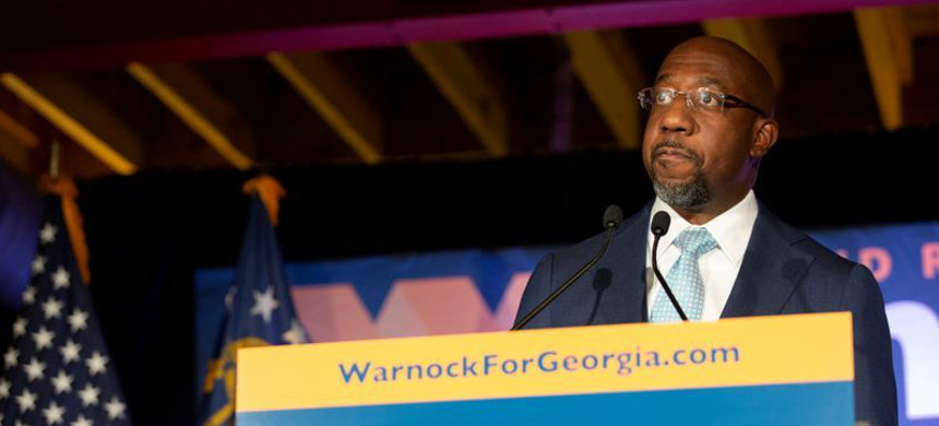 Democratic U.S. Senate candidate Rev. Raphael Warnock holds election night event in Atlanta. (photo: Reuters)
