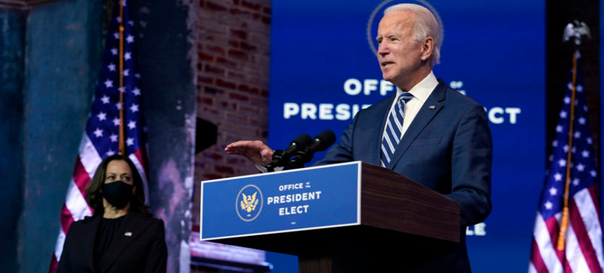 President-elect Joe Biden speaks Tuesday, Nov. 10, 2020, at The Queen theater in Wilmington, Delaware. (photo: Carolyn Kaster/AP)
