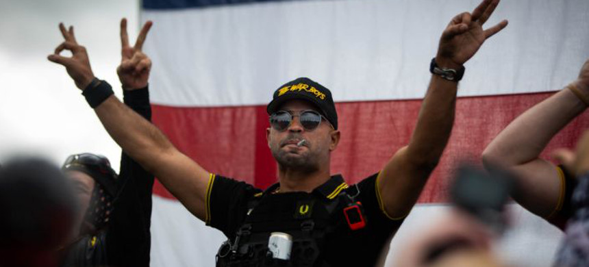 Enrique Tarrio of the 'Proud Boys,' Delta Park, Portland, Oregon, 26 September 2020. (photo: Getty)