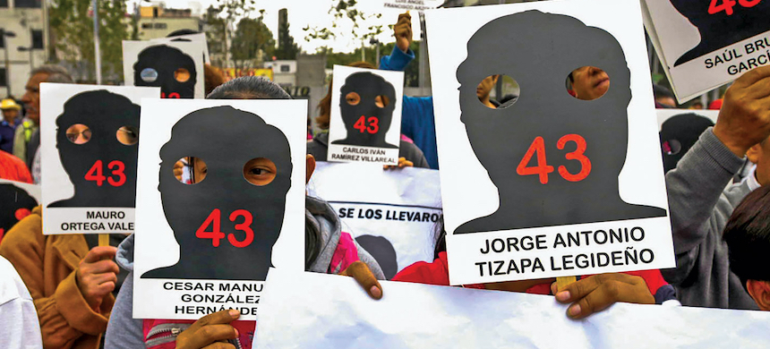 A march in Mexico City on the anniversary of the disappearance of 43 students from Ayotzinapa, Guerrero. (photo: Keith Dannemiller)