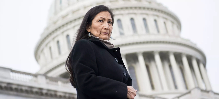 Rep. Deb Haaland, one of the first two Native American women elected to Congress, on the East Front of the Capitol, January 4, 2019. (photo: Tom Williams/CQ-Roll Call/Getty Images)