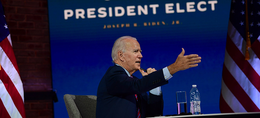 President-elect Joe Biden speaks Monday in Wilmington, Delaware, during a virtual meeting with the U.S. Conference of Mayors. (photo: Mark Makela/Getty Images)