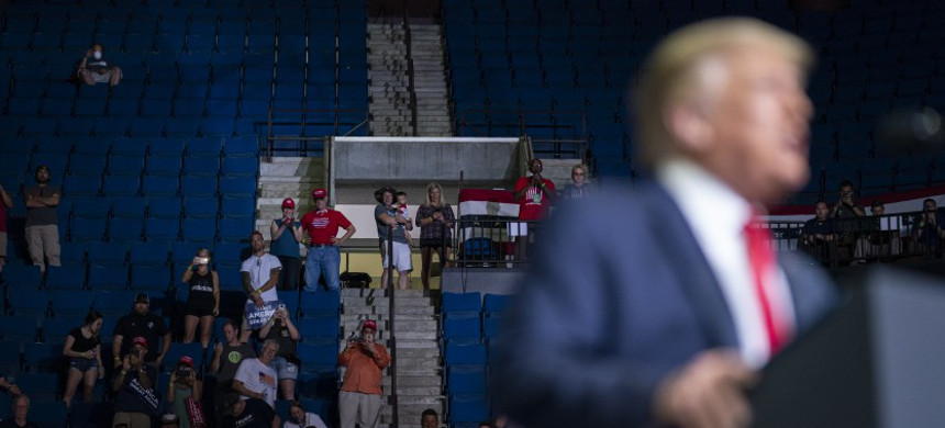 Donald Trump speaks to a less-than-capacity crowd at the BOK Center, Saturday, June 20, 2020, in Tulsa. (photo: AP)