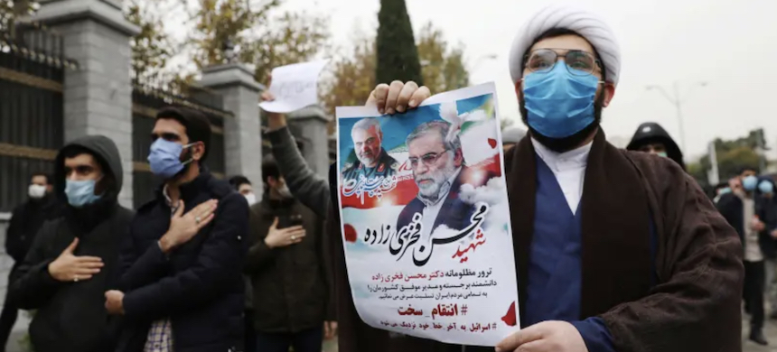 Protesters gather during a demonstration against the killing of Mohsen Fakhrizadeh, Iran's top nuclear scientist, in Tehran, Iran, November 28, 2020. (photo: Majid Asgaripour/WANA/Reuters)