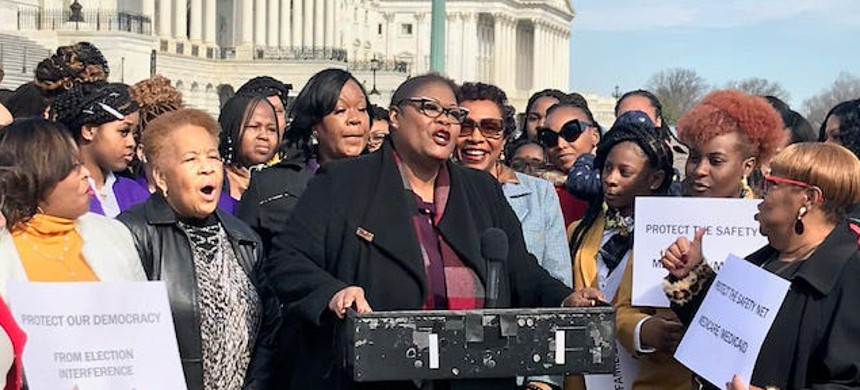 Melanie Campbell, president of the National Coalition on Black Civic Participation, speaks in front of the Capitol building. (photo: Deborah Barfield Berry)