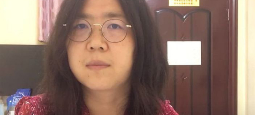 Zhang Zhan, a 37-year-old former lawyer, has been held in detention since she was arrested in May. (photo: YouTube)