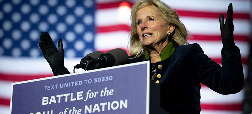 Jill Biden speaks during a Pennsylvania Biden-Harris rally in November 2020. (photo: Jim Watson/AFP/Getty Images)