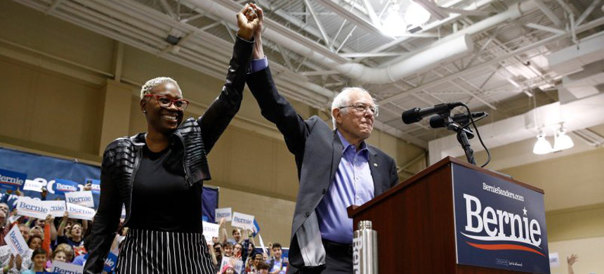 Democratic presidential candidate Sen. Bernie Sanders, right, stands onstage with former Ohio state Sen. Nina Turner before speaking at a campaign event in North Charleston, SC, Feb. 26, 2020. (photo: Patrick Semansky/AP)