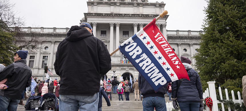 President Trump's supporters gather Tuesday on the steps at the Pennsylvania state Capitol in Harrisburg. (photo: Laurence Kesterson/AP)