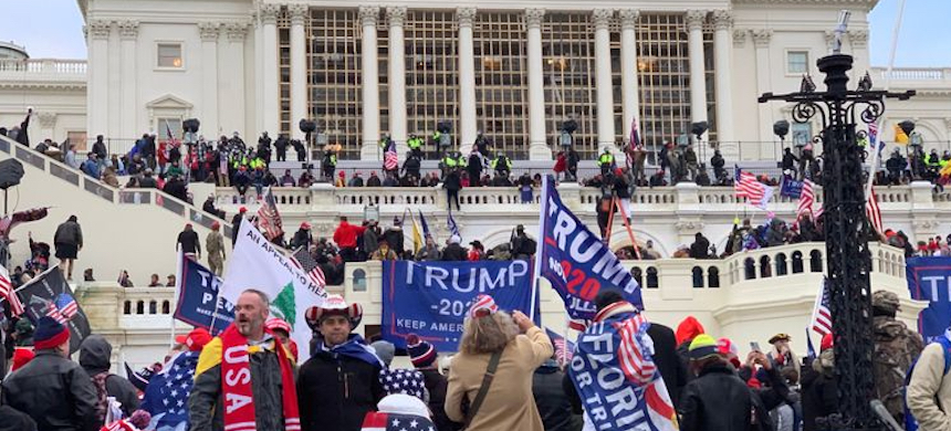 A crowd of supporters of President Donald Trump after they stormed the Capitol building on Jan. 6, 2021. (photo: ProPublica)