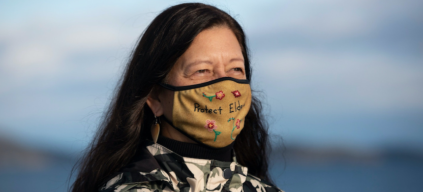 Confederated Salish and Kootenai Tribal Chair Shelly Fyant poses for a portrait on Jan. 2, 2021, in Polson, Montana. (photo: Tailyr Irvine/The Intercept)