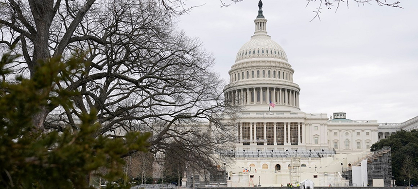 The Capitol stands mostly quiet. (photo: Patrick Semansky/AP)