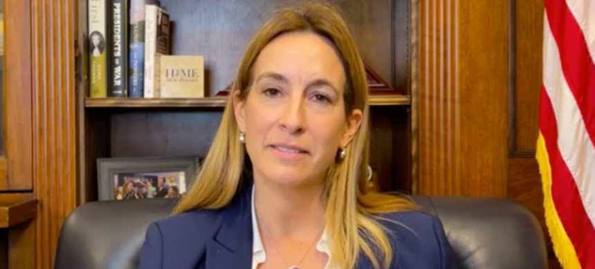 New Jersey rep. Mikie Sherrill addressing the pro-Trump riot at the Capitol. (photo: Facebook)